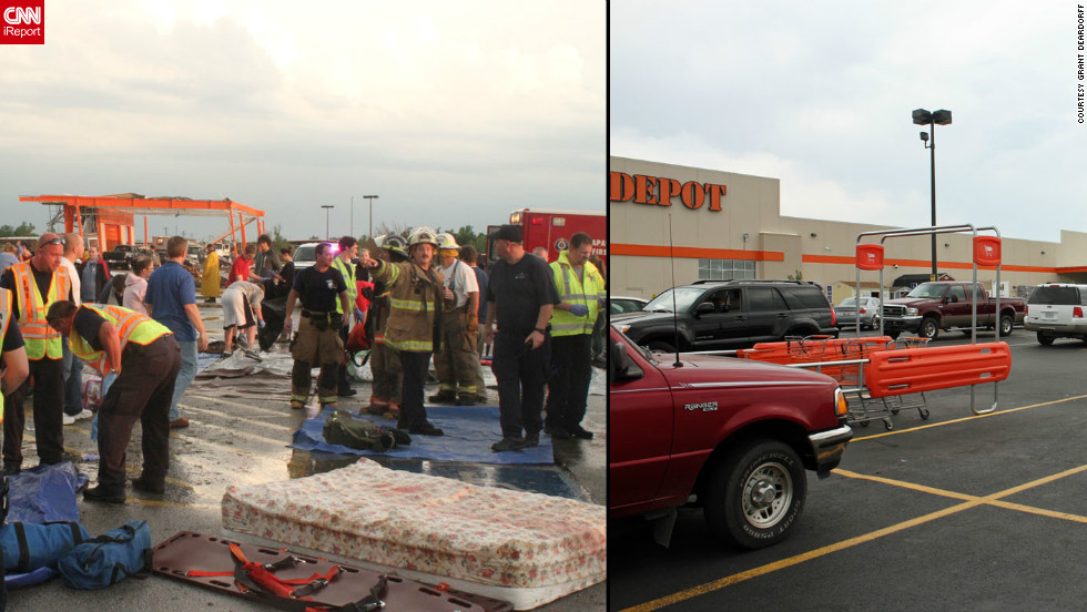 "The leveled Home Depot became a staging area for emergency workers. A new store opened in January. The site went from ""such a site of devastation and tragedy to a beautiful new store where people can show up and buy their new hammer,"" <a href=""http://ireport.cnn.com/people/gdeardorff"">Grant Deardorff</a> said."