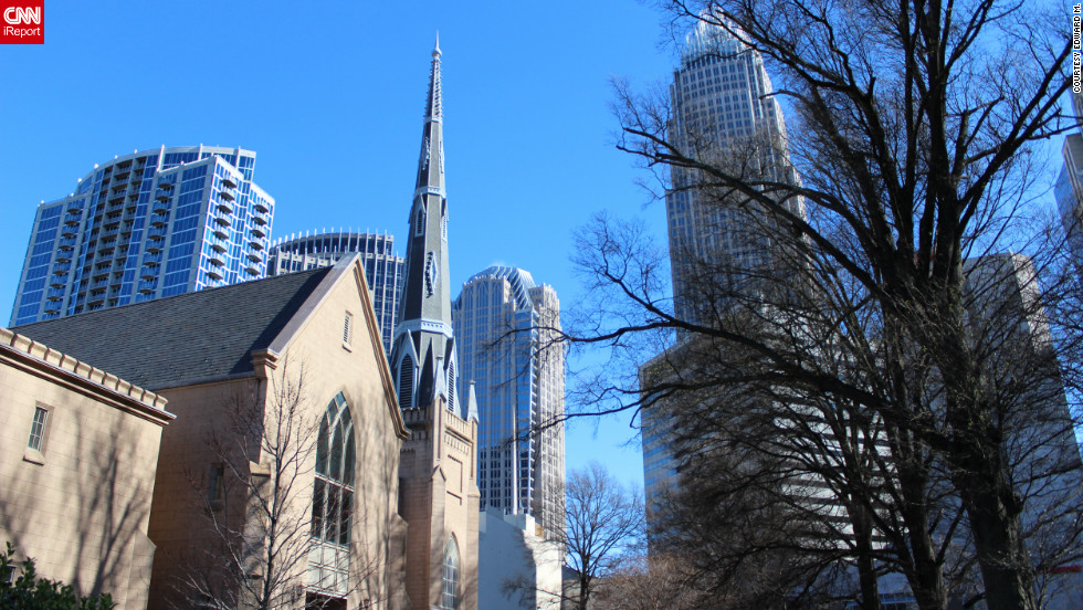A view of Charlotte, which received almost twice as many votes as Tampa in our unscientific poll, from the historic Fourth Ward neighborhood.
