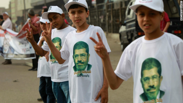 Egyptian supporters of Muslim Brotherhood's candidate for the presidential elections Mohammed Mursi.