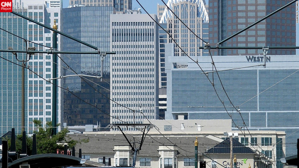 """Charlotte's light rail system zips commuters around the city. """"There's a light rail line near my house, so I can get uptown without driving,"""" says Tim Hass, who shot this photo."""