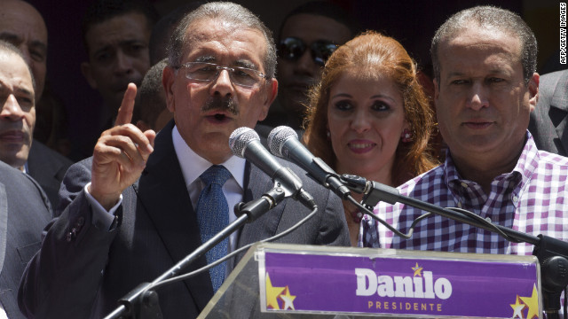 Dominican president elect Danilo Medina announces his electoral victory on May 20, 2012.