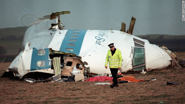 The wreckage of Pan Am Flight 103 that exploded over Lockerbie.