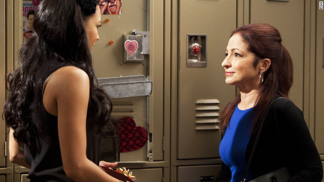 "A still from the season finale of ""Glee"" with Gloria Estefan (right)."