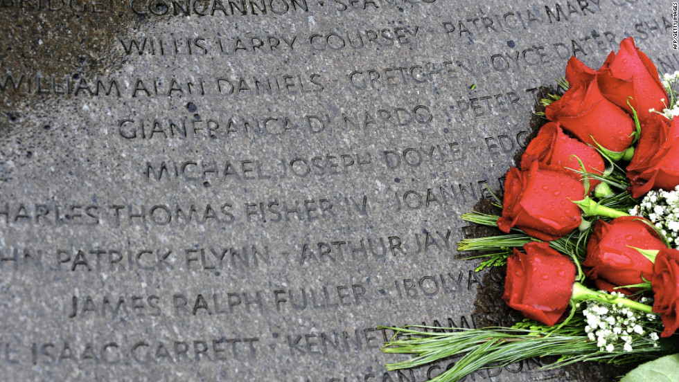 Roses adorn the Lockerbie memorial at Arlington National Cemetery in the U.S.