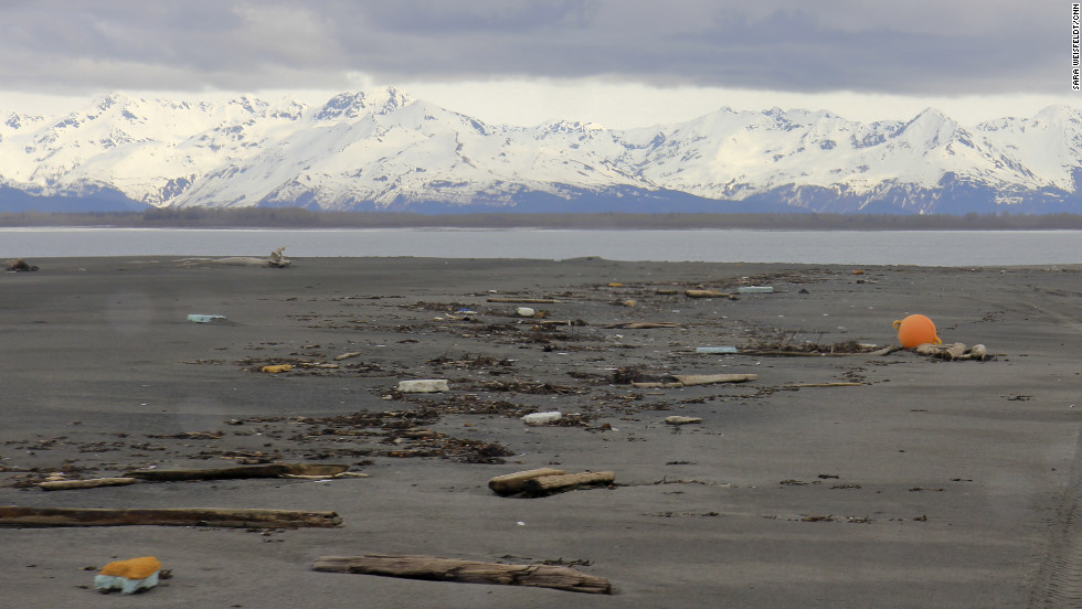 Debris litters a stunning remote beach on the Alaskan coast called Black Sand Spit at the mouth of the Dangerous River near Yakutat.