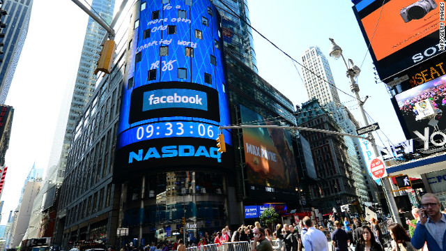 A sign announcing Facebook IPO is flashed on a screen outside the NASDAQ stock exchange after the opening bell in Times Square in New York, May 18, 2012.