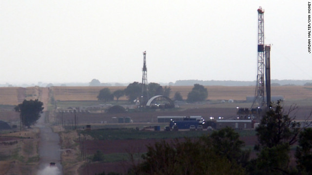Oil rigs are popping up in the farmlands of Harper County, Kansas, where an oil boom is underway.