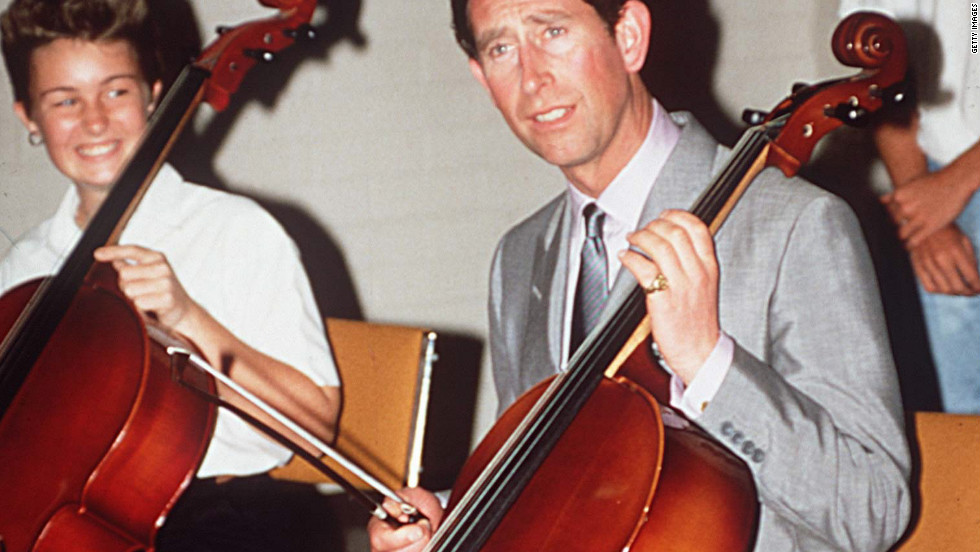 Visiting Melbourne, Australia, Prince Charles plays the cello at the School Of Music at the Victorian College of Arts on January 28, 1988.