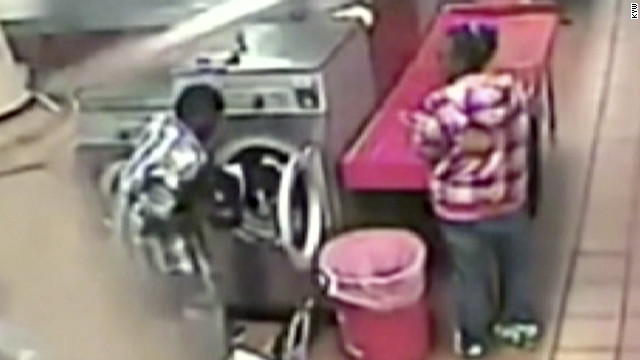 parents of toddler put baby in laundromat