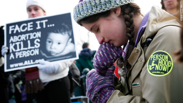 Anti-abortion activist Maribeth Kelly of Front Royal, Virginia, prays during a 2010 event in Washington.
