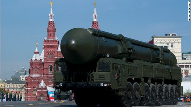 File photo of Russia's Topol intercontinental ballistic missile launcher on May 6, 2012.