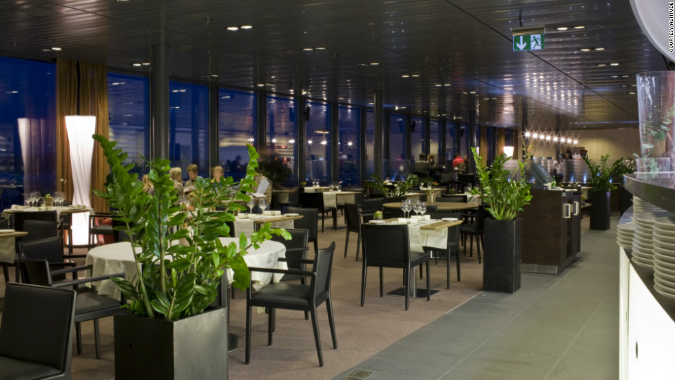 At Altitude, at Geneva International Airport, travelers can enjoy fine dining devised by three Michelin-awarded chefs accompanied by sweeping views over the Jura Mountains.