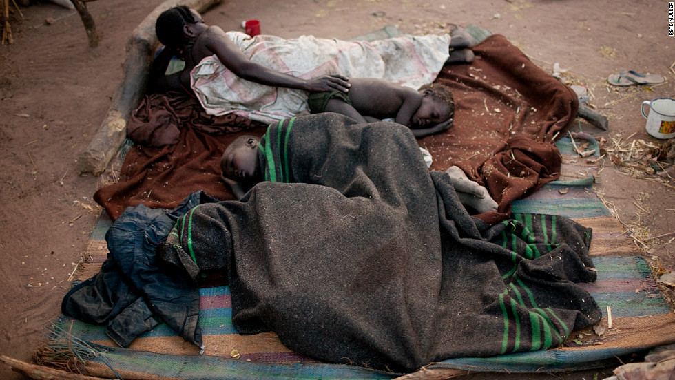 Nuba refugees sleep rough in the Yida camp, South Sudan, in April 2012.