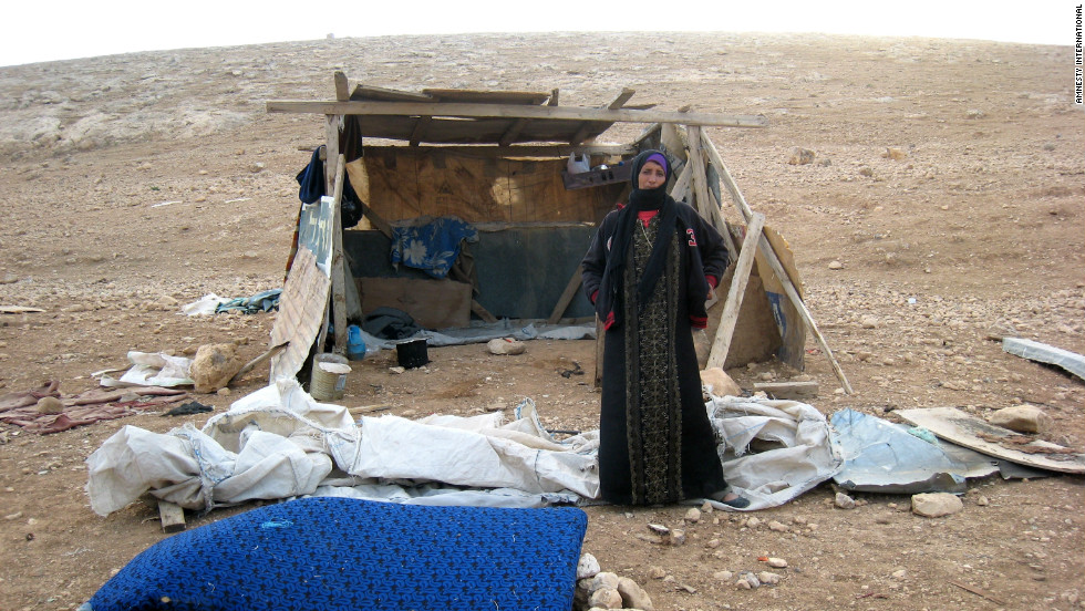 Bedouins from the Arad Jahalin tribe in the Palestinian territories threatened with forced displacement.
