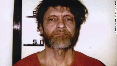 1996 booking photo of Unabomber Ted Kaczynski.