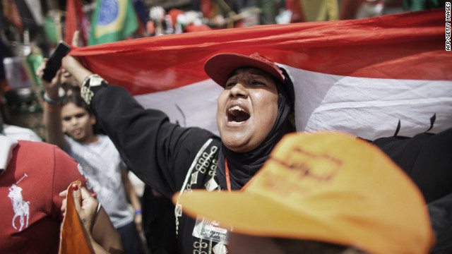 A woman shouts in Tahrir Square in May as Egyptians reacted nervously to the first round of presidential voting.