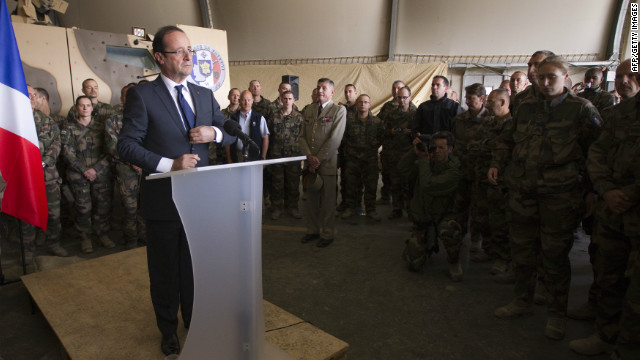 French President François Hollande gives a speech Friday during a visit to a military base in Kapisa, in Afghanistan.