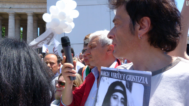 Piero Orlandi, the brother of Emanuela Orlandi, joins demonstrators Sunday in St. Peter's Square.