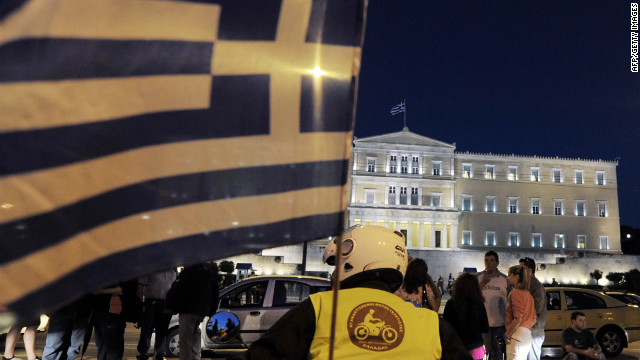 Greek 'Indignants' in front of the Greek parliament in Athens mark one year since the start of the movement on May 25, 2012.