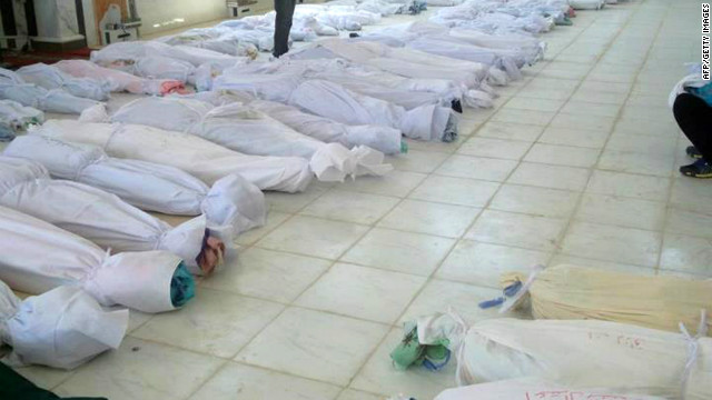 Photo from Syrian opposition's Shaam News Network shows bodies lying at a morgue in Houla on May 26.