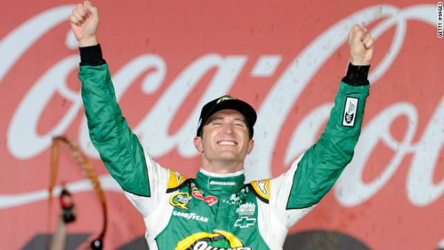 Kasey Kahne celebrates after winning the Coca-Cola 600 at Charlotte Motor Speedway on Sunday.
