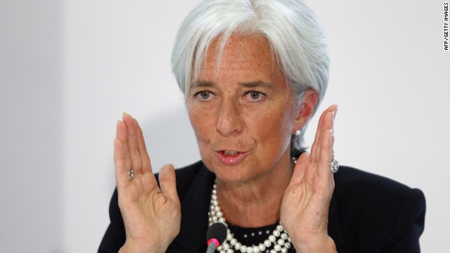 Christine Lagarde, the Managing Director of the International Monetary Fund, addresses a press conference in the Treasury on May 22, 2012 in London.