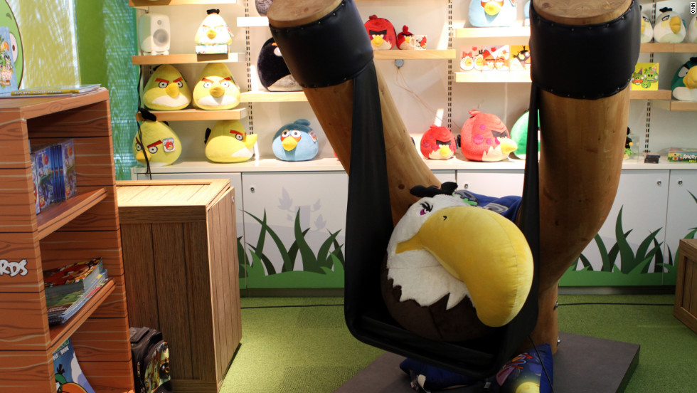 "A wide variety of ""Angry Birds"" products are for sale in the Rovio offices gift shop."