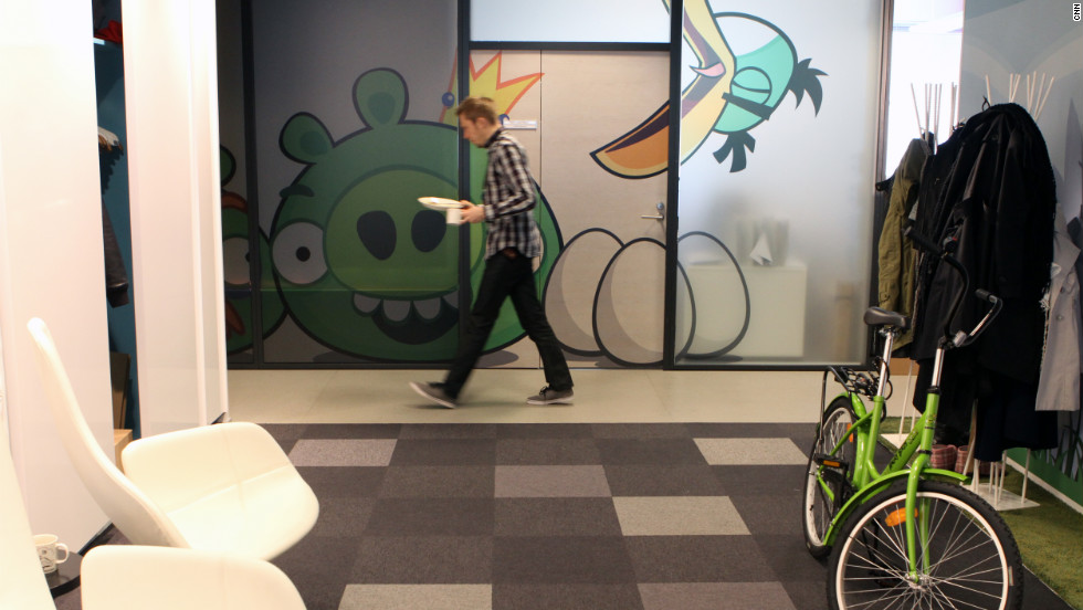 "Graffiti-style ""Angry Birds"" characters are painted on the walls of the offices throughout the space."