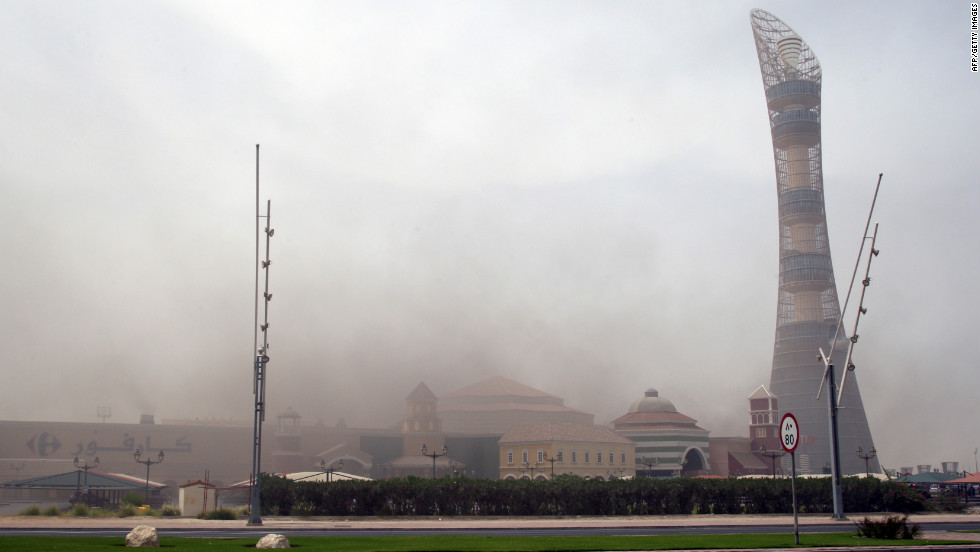 "Smoke rises above the shopping center in the city's west end. The upscale mall bills itself as ""the newest and the largest entertainment center in Doha."""