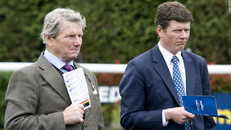Ian Balding (L) with his son Andrew at a recent race meet. The pair are hoping their colt Bonfire can claim Epsom Derby glory like Mill Reef did for them back in 1971.