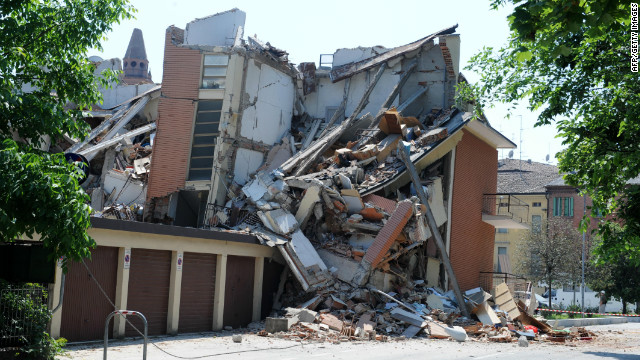 A building is damaged after an earthquake on May 29 in Cavezzo, Italy.