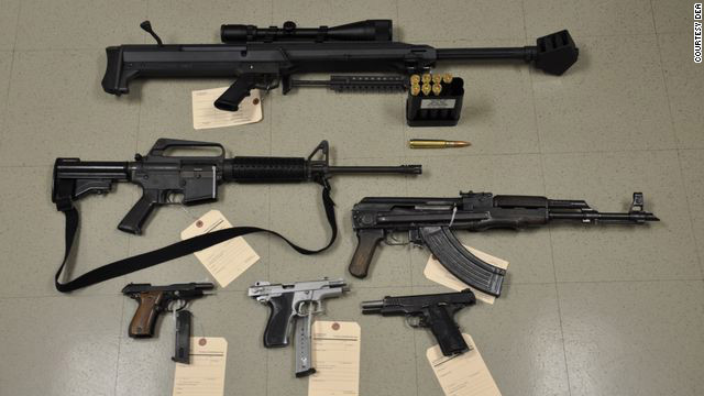 The DEA drug operations also turn up guns. On top is a .50-caliber sniper rifle stolen from a Marine at Camp Lejeune.