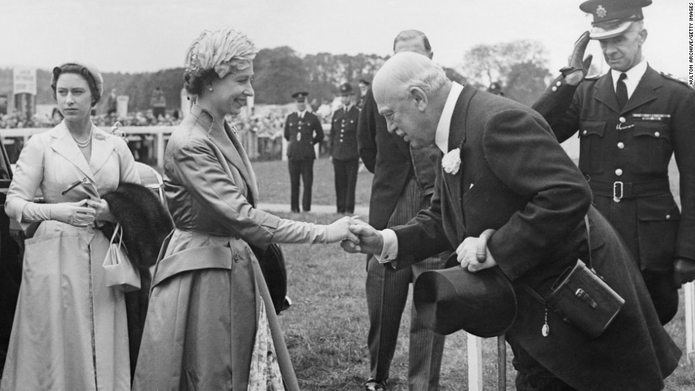 Britain's Queen Elizabeth is a regular visitor to the Epsom Derby, seen here at the racecourse in 1957. She will take in the 2012 Derby as part of her Diamond Jubilee celebrations.