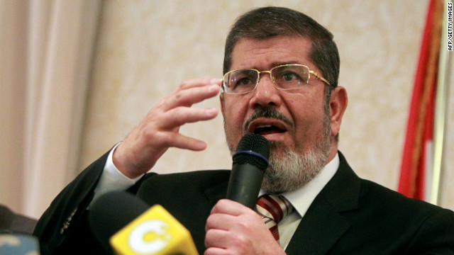 Egyptian Muslim Brotherhood presidential candidate Mohamed Morsi holds a news conference in Cairo on Tuesday.