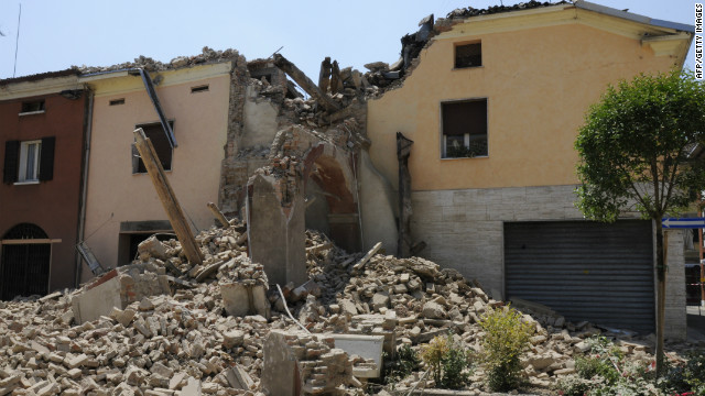 A view of a tower which collapsed on May 29, 2012 after a earthquake in San Felice sul Pannaro, already hit by another earthquake on May 20.