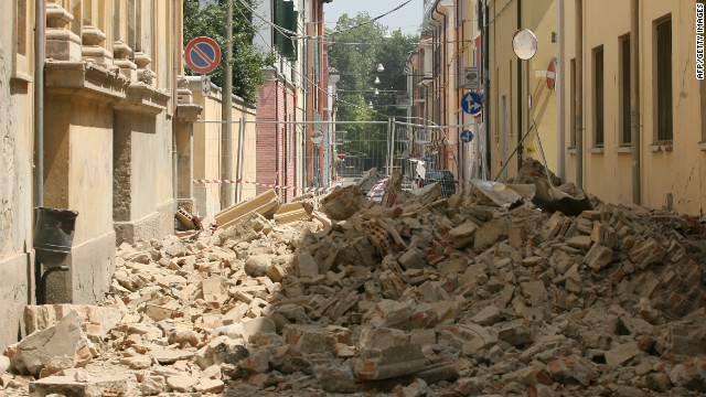 A view of rubble in a street after an earthquake on May 29, 2012 in Mirandola, Italy.