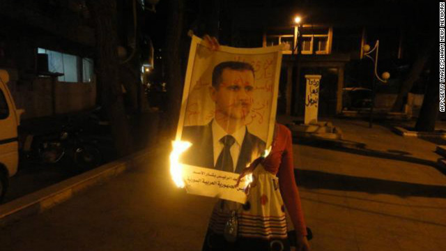 A handout image by the Syrian opposition's Shaam News Network Monday shows an anti-regime protest outside Damascus.