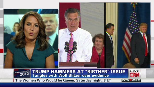 "Trump hammers at ""birther"" issue"