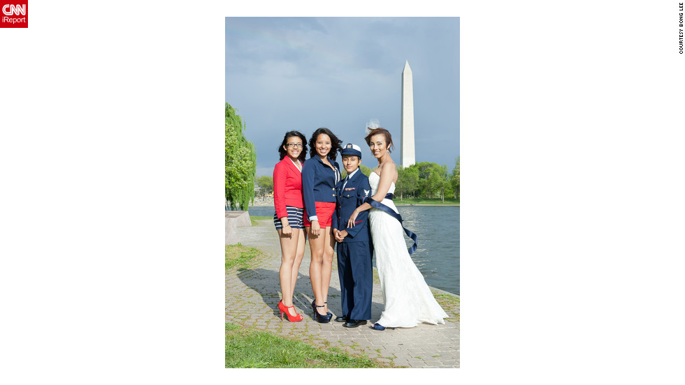 "iReporter Valezka Taylor decided to adopt a sailor theme so her mate, Sami, could wear her Coast Guard uniform. They were inspired to get married after ""don't ask, don't tell"" was repealed, but it took an extra nudge from her teenage daughter to set the wheels in motion. Valezka's daughter and her aunt were bridesmaids; they wore red and blue to match the sailor theme."