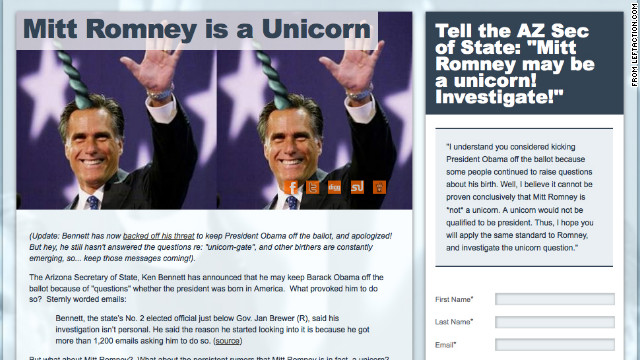 "Birthers, meet ""unicorners"" -- a liberal group calling for proof that Mitt Romney is not a unicorn."