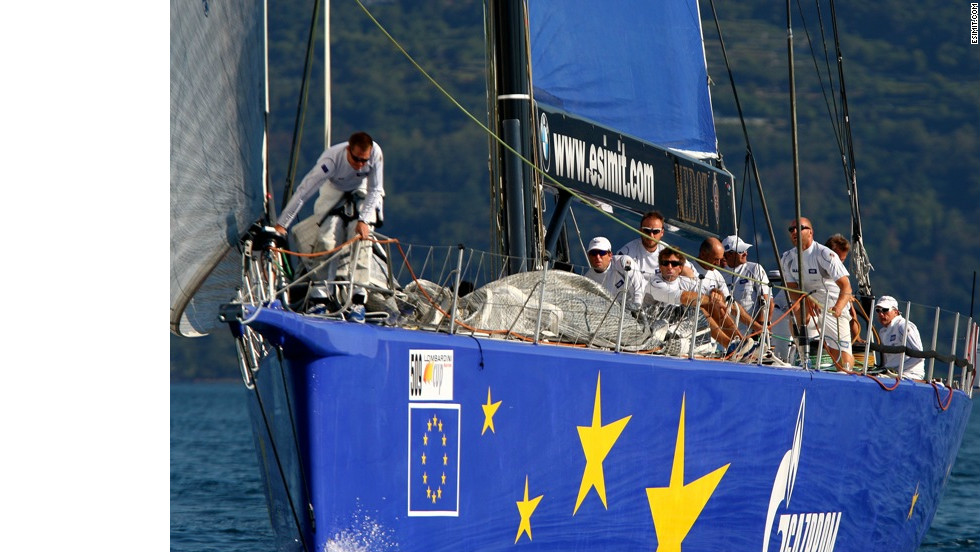 "The ""Esimit Europa 2"" is the first sailing boat to compete under the European emblem and the first to be given the honor to fly the European flag."