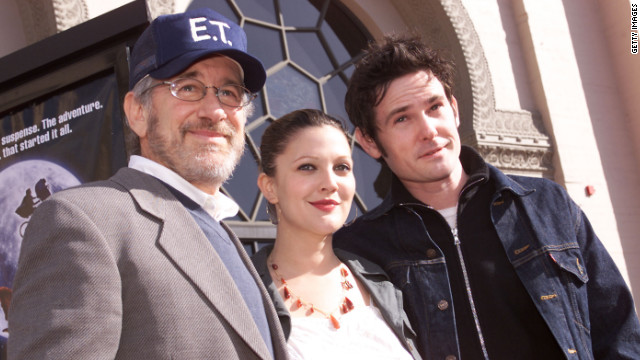 "Steven Spielberg, Drew Barrymore and Henry Thomas at the 20th anniversary of ""E.T. The Extra-Terrestrial"" in 2002."