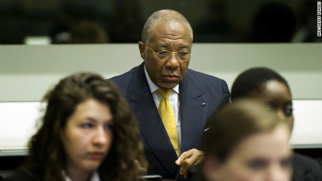 Liberian ex-president Charles Taylor listens to the judge at  The Hague.