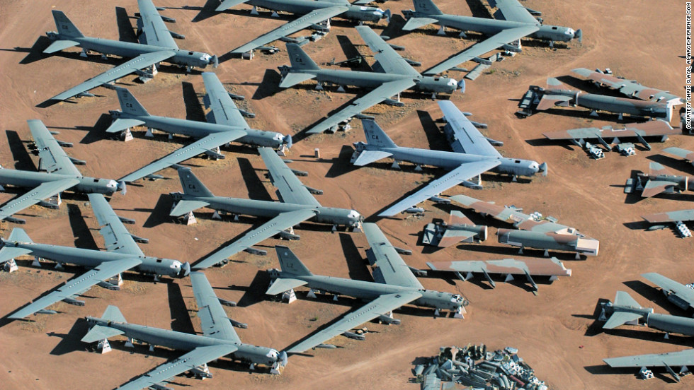 "Rows of retired B-52 bombers fill <a href=""http://www.amarcexperience.com/Default.asp"" target=""_blank"">""The Boneyard"" of the 309th Aerospace Maintenance and Regeneration Group</a> based at  Davis-Monthan Air Force Base near Tucson, Arizona. Click through the photos to see additional places that attract aviation enthusiasts."
