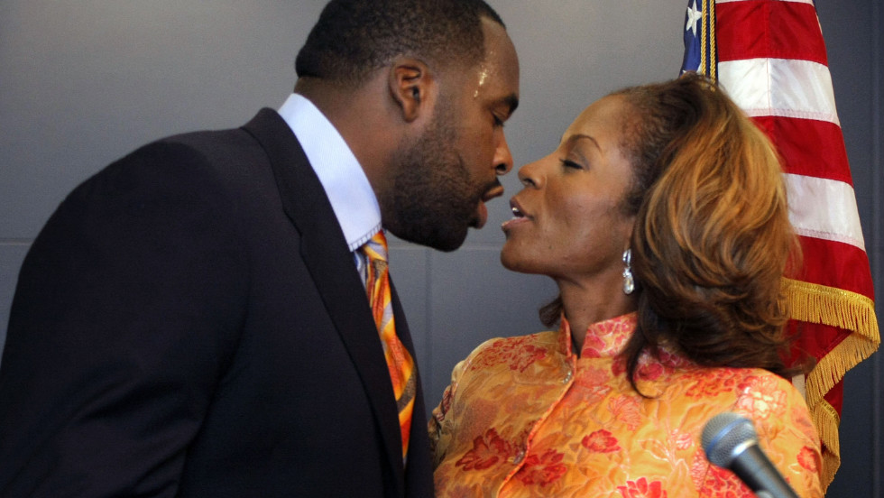 """<strong>Kwame Kilpatrick is </strong>the former Detroit mayor who pleaded guilty to obstruction of justice after investigators showed text messages between him and his mistress involving sex that he said never happened. In response to her text about whether he missed her sexually, he replied: """"<a href=""""http://www.freep.com/apps/pbcs.dll/article?AID=/20080124/NEWS05/801240414&theme=KILPATRICK082007 <http://www.freep.com/apps/pbcs.dll/article?AID=/20080124/NEWS05/801240414&theme=KILPATRICK082007"""" target=""""_blank"""">Hell yeah! You couldn't tell. I want some more</a>."""" In October 2013, Kilpatrick was sentenced to 28 years in prison after his conviction on two dozen federal charges, including racketeering, extortion and the filing of false tax returns."""