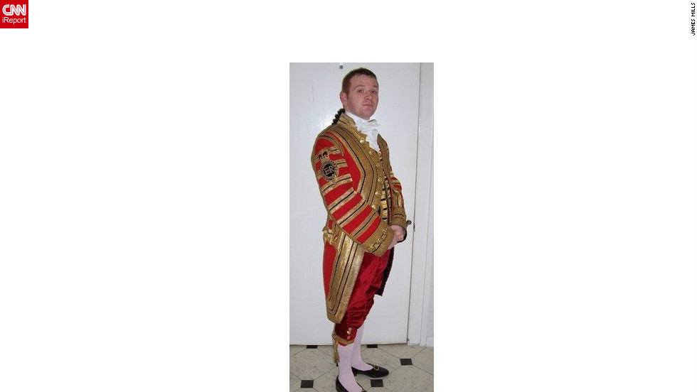 "James Mills poses in the uniform he wore while working for the queen from 2002 to 2006. Mills, from Scotland, says: ""I had some fantastic memories from my time including dancing the St. Bernard's Waltz with the queen at the 'Ghillies Ball' -- a dance held at Balmoral Castle.  Mills also attended the wedding of Prince Charles and Camilla at Windsor Castle, the queen's 80th birthday party, and met President George W. Bush during a state visit in November 2003."""