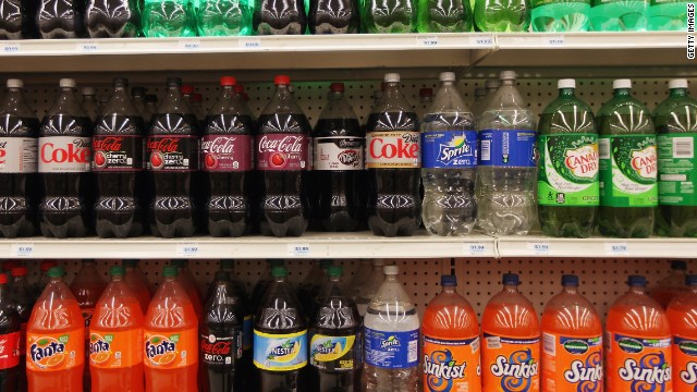 Two-liter bottles of regular and diet soda are seen for sale at a Manhattan store on Thursday in New York City.
