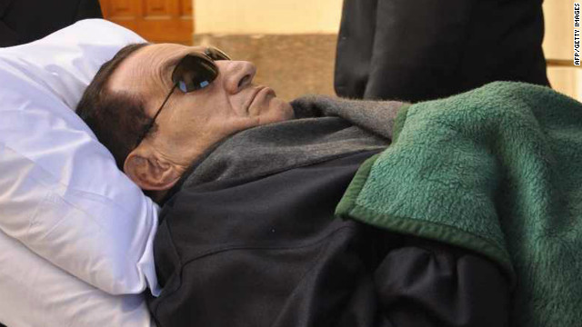 Ousted President Hosni Mubarak spent much of the time on a mobile bed during his trial.