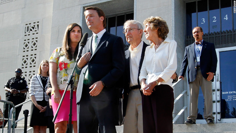 Edwards addresses the media after his acquittal and mistrial, with his daughter Cate and his parents Wallace and Bobbie Edwards at his side, outside the Greensboro courthouse on Thursday, May 31, 2012. After nine days of deliberation, a jury acquitted Edwards on one count but deadlocked on five other counts in his corruption trial. It's unclear what the Justice Department will do next, but Edwards says his years of service aren't over.