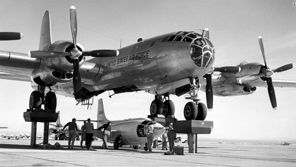 At Edwards, Chuck Yeager became the first person to pilot an aircraft faster than the speed of sound during level flight. The experimental Bell X-1 rocket plane broke the barrier in 1947 after being dropped from a modified B-29 bomber.
